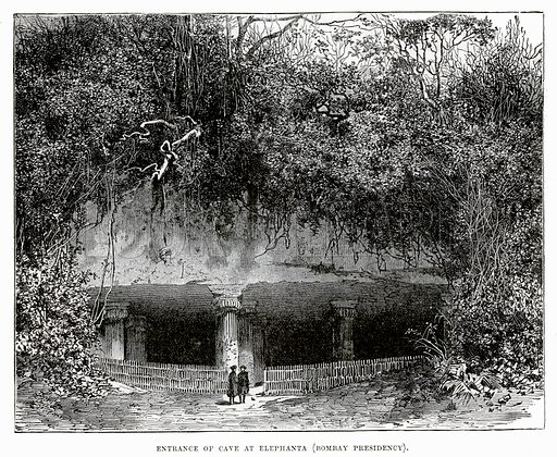 Entrance of cave at Elephanta (Bombay Presidency). Illustration from Cassell