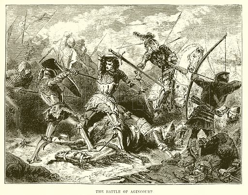 The battle of Agincourt. Illustration from Cassell's Illustrated Universal History by Edward Ollier (1890).