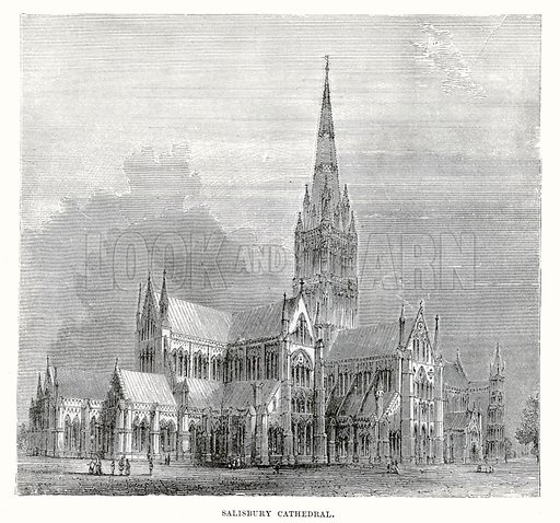 Salisbury Cathedral. Illustration from Cassell's Illustrated Universal History by Edward Ollier (1890).