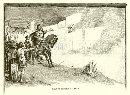 Brutus before Xanthus. Illustration from Cassell's Illustrated Universal History by Edward Ollier (1890).