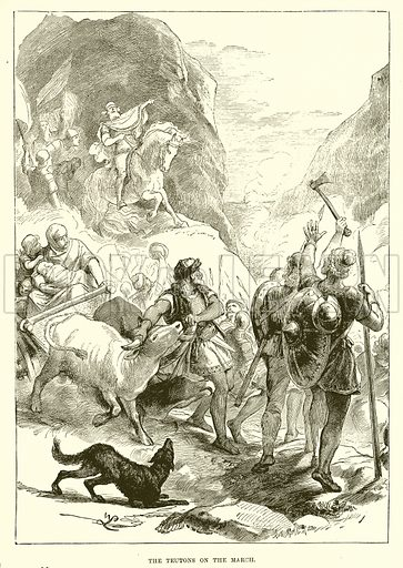 The Teutons on the march. Illustration from Cassell's Illustrated Universal History by Edward Ollier (1890).