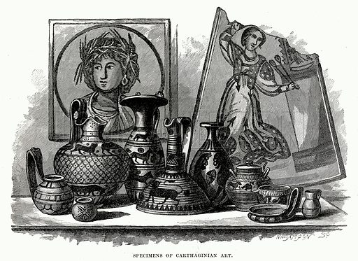 Specimens of Carthaginian art. Illustration from Cassell's Illustrated Universal History by Edward Ollier (1890).