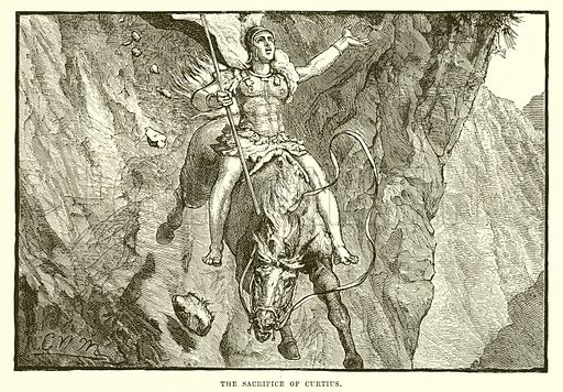 The sacrifice of Curtius. Illustration from Cassell's Illustrated Universal History by Edward Ollier (1890).