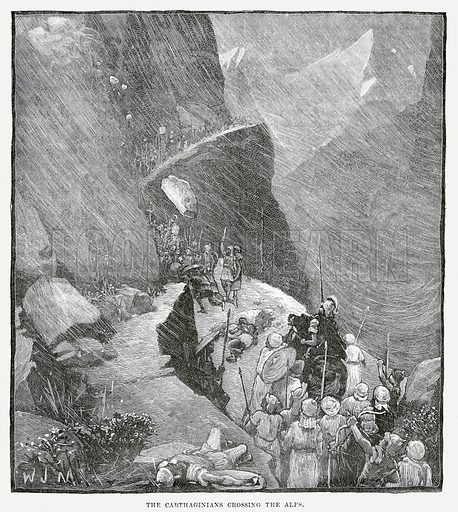 The Carthaginians crossing the Alps. Illustration from Cassell's Illustrated Universal History by Edward Ollier (1890).