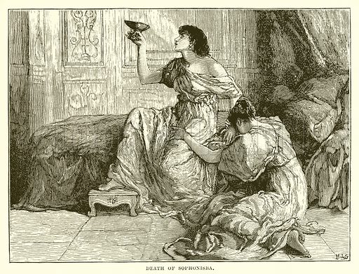 Death of Sophonisba. Illustration from Cassell's Illustrated Universal History by Edward Ollier (1890).