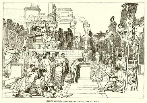 Nero's torches – Burning of Christians at Rome. Illustration from Cassell's Illustrated Universal History by Edward Ollier (1890).