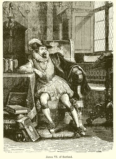James VI. of Scotland. Illustration from John Cassell's Illustrated History of England (W Kent, 1857/1858).
