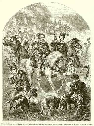 The favourite dog of James I. discovered with a petition round his neck, begging the king to attend to State Affairs. Illustration from John Cassell