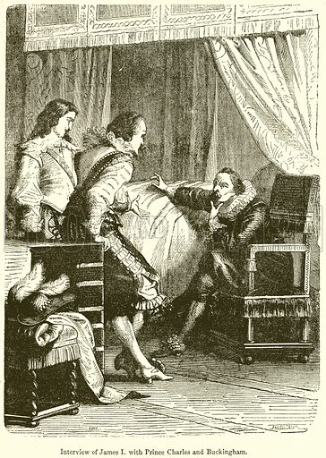 Interview of James I. with Prince Charles and Buckingham. Illustration from John Cassell's Illustrated History of England (W Kent, 1857/1858).