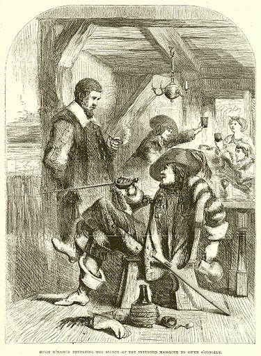 Hugh McMahon Betraying the secret of the Intended Massacre to Owen O'Conolly. Illustration from John Cassell's Illustrated History of England (W Kent, 1857/1858).