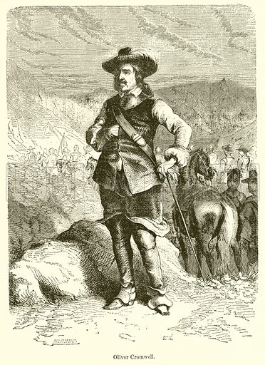 Oliver Cromwell. Illustration from John Cassell's Illustrated History of England (W Kent, 1857/1858).