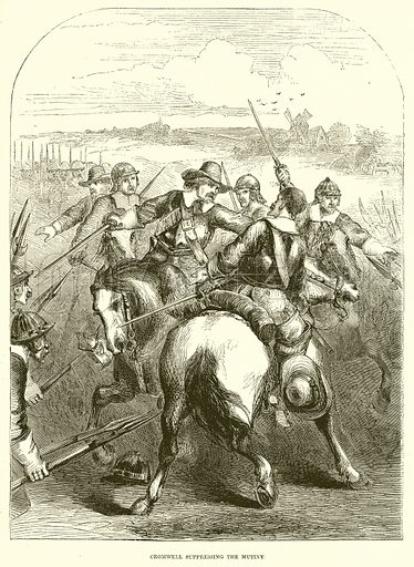 Cromwell suppressing the Mutiny. Illustration from John Cassell's Illustrated History of England (W Kent, 1857/1858).