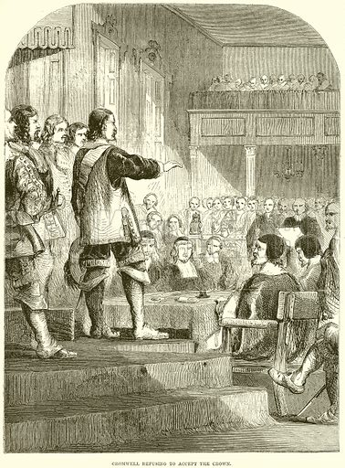 Cromwell refusing to accept the crown. Illustration from John Cassell's Illustrated History of England (W Kent, 1857/1858).