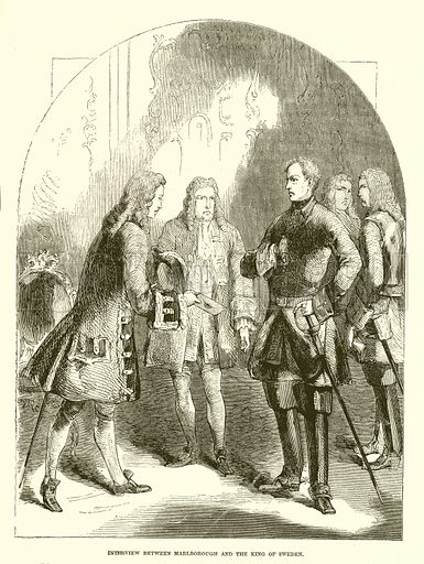 Interview between Marlborough and the King of Sweden. Illustration from John Cassell's Illustrated History of England (W Kent, 1857/1858).
