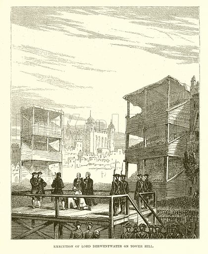 Execution of Lord Derwentwater on Tower Hill. Illustration from John Cassell's Illustrated History of England (W Kent, 1857/1858).