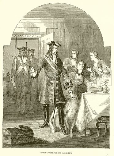 Arrest of the Princess Clementina. Illustration from John Cassell's Illustrated History of England (W Kent, 1857/1858).