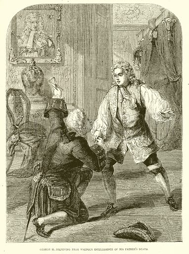 George II., receiving from Walpole Intelligence of his Father's Death. Illustration from John Cassell's Illustrated History of England (W Kent, 1857/1858).