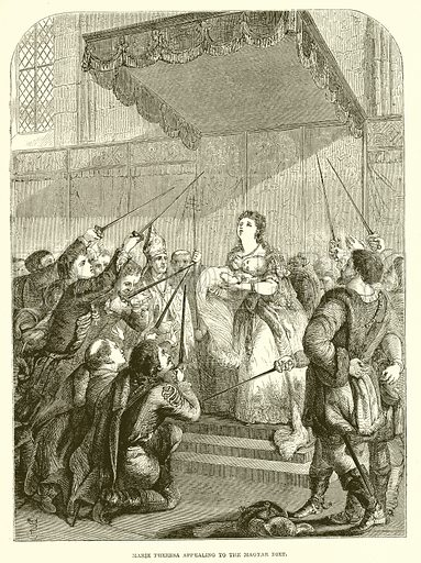 Marie Theresa appealing to the Magyar Diet. Illustration from John Cassell's Illustrated History of England (W Kent, 1857/1858).