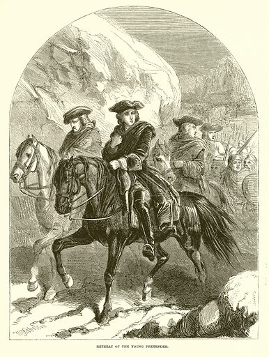 Retreat of the Young Pretender. Illustration from John Cassell