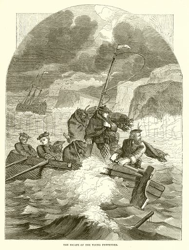 The escape of the Young Pretender. Illustration from John Cassell's Illustrated History of England (W Kent, 1857/1858).