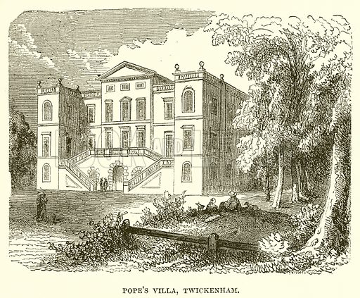 Pope's Villa, Twickenham. Illustration from John Cassell's Illustrated History of England (W Kent, 1857/1858).