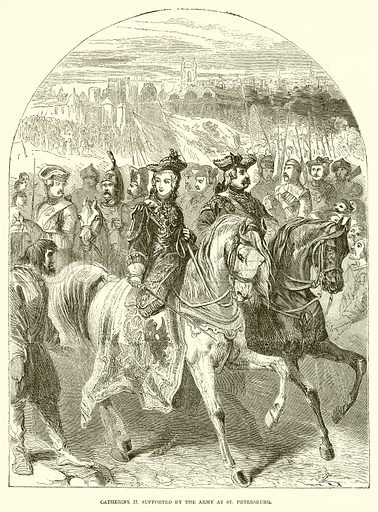 Catherine II. supported by the Army at St Petersburg. Illustration from John Cassell's Illustrated History of England (W Kent, 1857/1858).