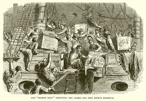 """The """"Boston Boys"""" throwing the Taxed Tea into Boston Harbour. Illustration from John Cassell's Illustrated History of England (W Kent, 1857/1858)."""