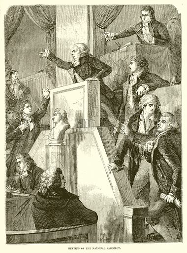 Meeting of the National Assembly. Illustration from John Cassell's Illustrated History of England (W Kent, 1857/1858).