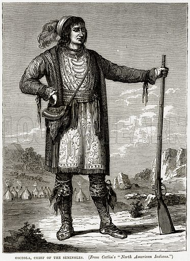 Osceola, chief of the Seminoles. Illustration from Cassell