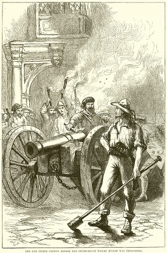 The mob firing Cannon before the Court-House where McLeod was imprisoned. Illustration from Cassell's History of the United States by Edward Ollier (c 1900).