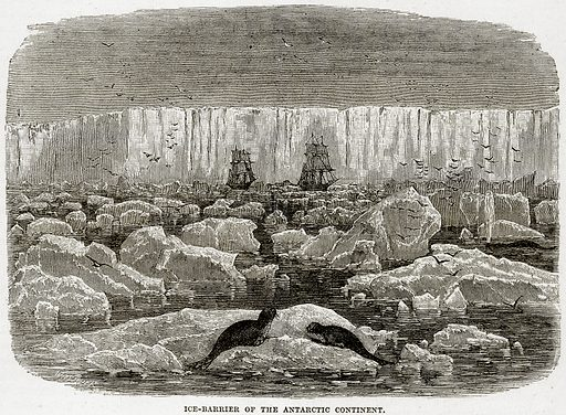 Ice-Barrier of the Antarctic continent. Illustration from Cassell