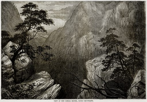View of the Sierra Madre, Rocky Mountains. Illustration from Cassell
