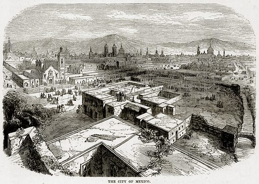 The City of Mexico. Illustration from Cassell's History of the United States by Edward Ollier (c 1900).