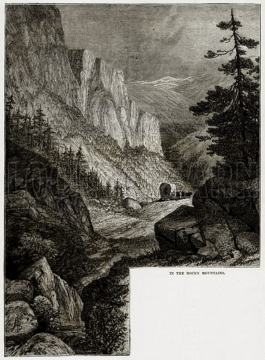 In the Rocky Mountains. Illustration from Cassell's History of the United States by Edward Ollier (c 1900).