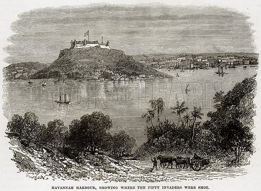 Havannah harbour, showing where the fifty invaders were shot. Illustration from Cassell's History of the United States by Edward Ollier (c 1900).