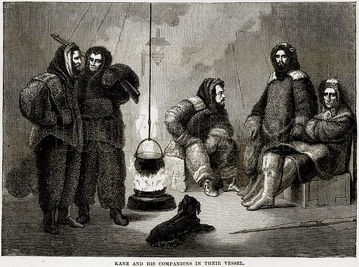 Kane and his companions in their vessel. Illustration from Cassell