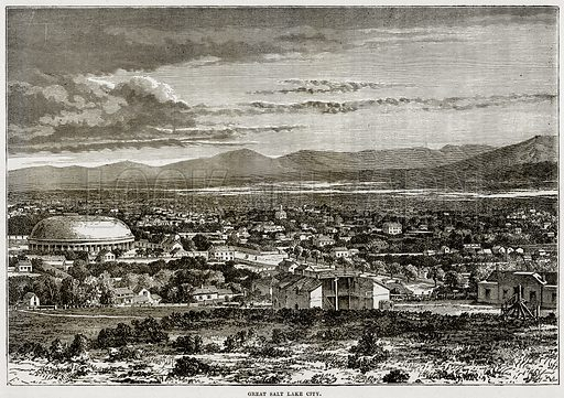 Great Salt Lake City. Illustration from Cassell's History of the United States by Edward Ollier (c 1900).