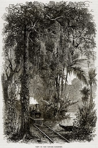 View on the Panama Railroad. Illustration from Cassell