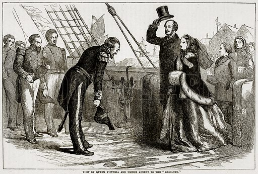 "Visit of Queen Victoria and Prince Albert to the ""Resolute."" Illustration from Cassell"