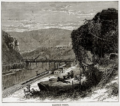 Harper's Ferry. Illustration from Cassell's History of the United States by Edward Ollier (c 1900).