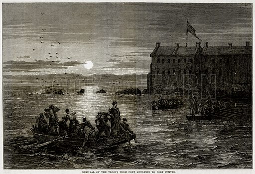 Removal of the troops from Fort Moultrie to Fort Sumter. Illustration from Cassell's History of the United States by Edward Ollier (c 1900).