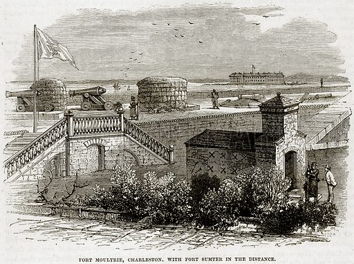 Fort Moultrie, Charleston. with Fort Sumter in the distance. Illustration from Cassell