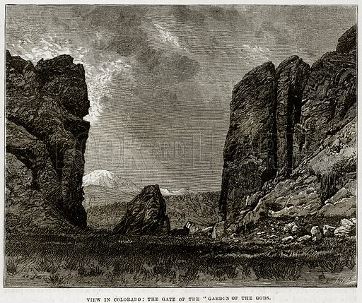 "View in Colorado: The gate of the ""Garden of the Gods."" Illustration from Cassell"