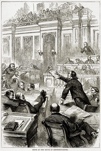 Scene in the house of representatives. Illustration from Cassell's History of the United States by Edward Ollier (c 1900).