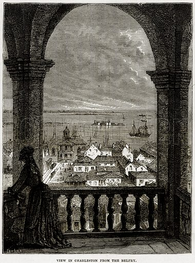 View in Charleston from the Belfry. Illustration from Cassell's History of the United States by Edward Ollier (c 1900).