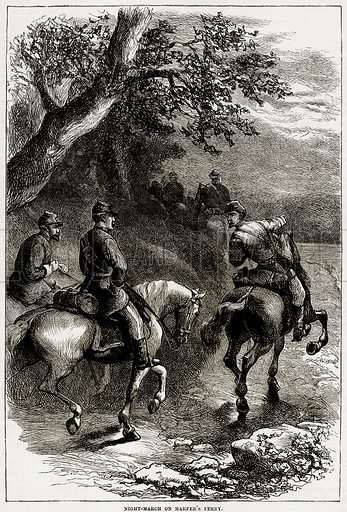 Night-March on Harper's Ferry. Illustration from Cassell's History of the United States by Edward Ollier (c 1900).