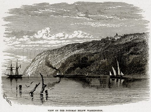 View on the Potomac below Washington. Illustration from Cassell