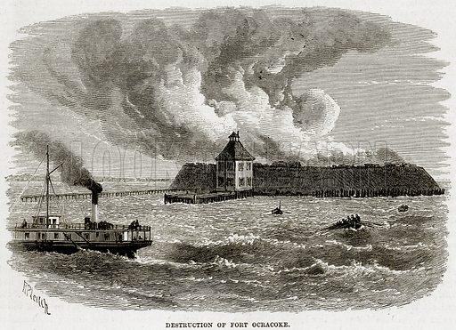 Destruction of Fort Ocracoke. Illustration from Cassell