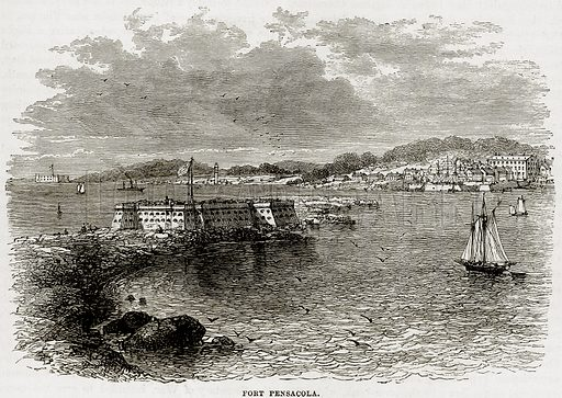 Fort Pensacola. Illustration from Cassell's History of the United States by Edward Ollier (c 1900).