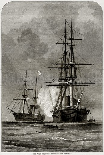 """The """"San Jacinto"""" stopping the """"Trent."""" Illustration from Cassell"""